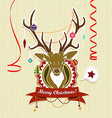 Vintage Christmas card with deer vector image vector image
