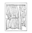 Wardrobe sketch Room interior with clothes vector image vector image