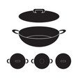wok chinese pan icon flat sign vector image vector image