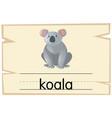 wordcard template for koala bear vector image