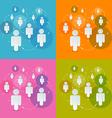 Paper People in Circles Set - Social Media vector image