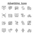 advertising icons set in thin line style vector image vector image