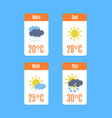 cartoon tv weather forecast concept set vector image