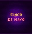 cinco de mayo neon text vector image