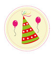 color circular frame with party hat and balloons vector image