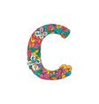 colorful ornamental alphabet letter c font vector image