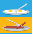 delicious breakfast dish with fried eggs and vector image vector image