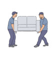 delivery people moving a couch young service men vector image