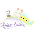 easter bunny and chickens on the easter egg hunt vector image vector image