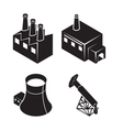 Flat isometric factory icons vector image