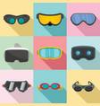 goggles ski glass mask icons set flat style vector image