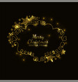 gold snowflake frame black background xmas vector image vector image