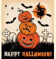 halloween pumpkin trio and witches silhouette vector image vector image