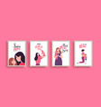 happy mothers day children mom love card set vector image