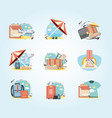 holidays vacations set icons travel vector image vector image
