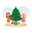 kids singing christmas song leading a round dance vector image