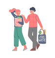 man and woman using eco bags for shopping people vector image