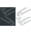 motorcycle mechanical chain transmission vector image