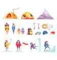 mountaineering cartoon set vector image