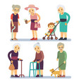 old women cartoon character set senior ladies in vector image vector image