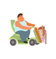 oversize man in electric wheelchair vector image vector image