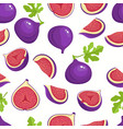 pattern with cartoon fig isolated on white vector image vector image
