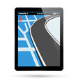 pc tablet screen with gps navigation vector image vector image