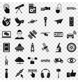 radio technology icons set simple style vector image vector image