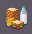 sandwich breakfast cartoon vector image