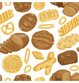 seamless pattern with various bakery vector image vector image
