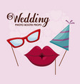 set accessories of party in stick vector image