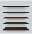 set brown wood different view shelves vector image