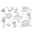 set cartoon alien monster characters ufo vector image