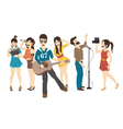 Set of Singer and musicians eps10 format vector image vector image