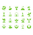 sprout green silhouette icons set on white vector image vector image