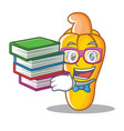 student with book cashew mascot cartoon style vector image vector image