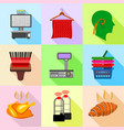 supermarket control icons set flat style vector image