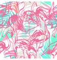 tropical seamless pattern with flamingos palm vector image
