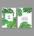 wedding invitation template with monstera palm vector image vector image