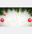 winter holiday background with fir leaf border vector image vector image
