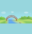 wood river bridge concept banner cartoon style vector image vector image