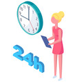 work 24 hours day girl with clipboard looking vector image