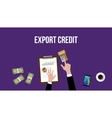working and calculating export credit on a table vector image vector image