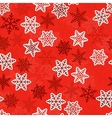 Red seamless snowlakes pattern For design vector image