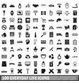 100 everyday life icons set simple style vector image vector image