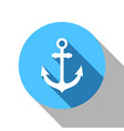 anchor flat blue shadow icon vector image