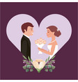 beautiful bride with bouquet and groom vector image