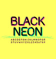 black neon font design alphabet letters and vector image