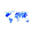blue color world map isolated on white vector image