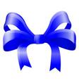 blue silky ribbon bow vector image vector image